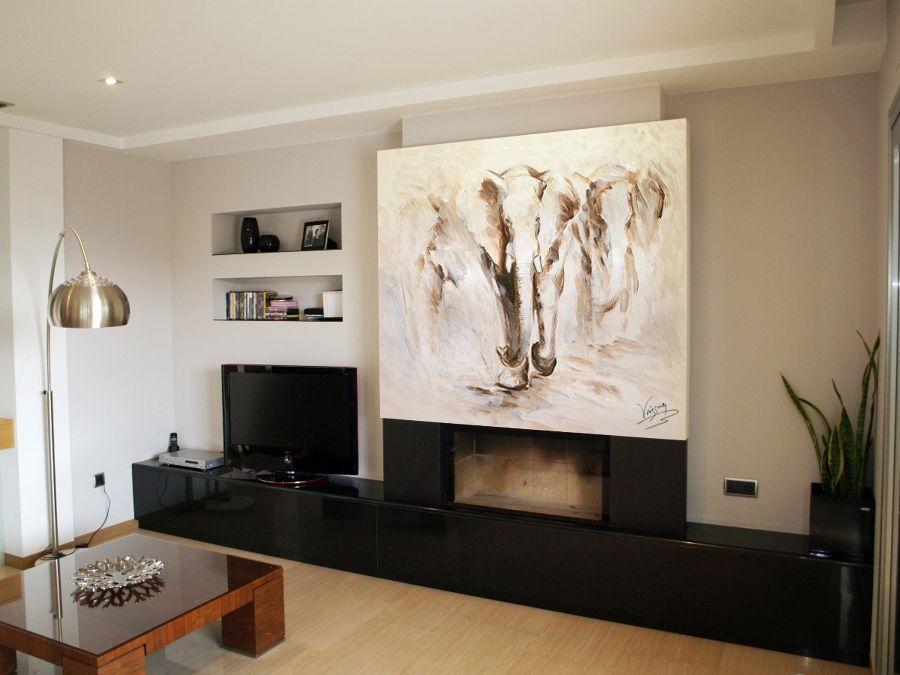 Decoraci n de chimeneas murales divinos for Salones minimalistas con chimenea
